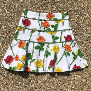 Elevenses Anthropologie White Floral Skirt Roses